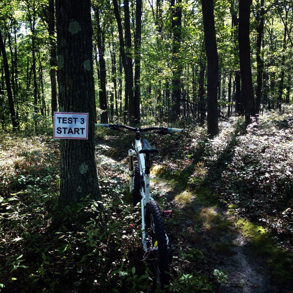 Pre-riding the enduro course, stage 3