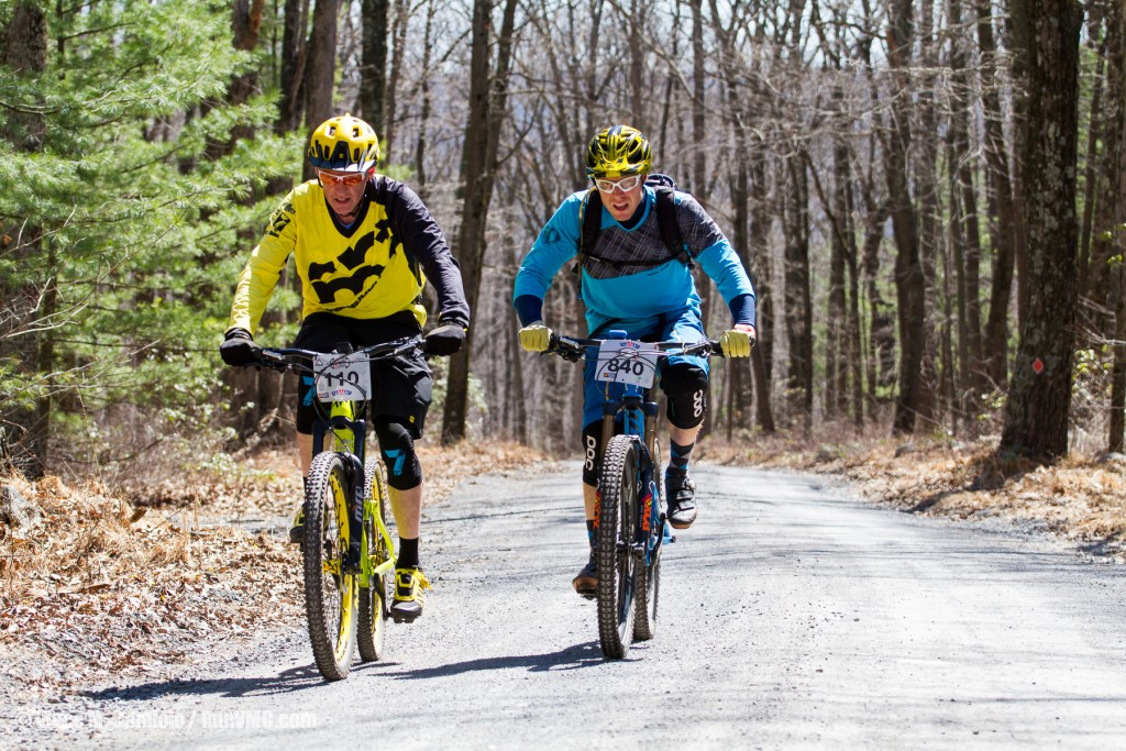 Me and B.J. during the .9mi transfer stage climb of the Rattling Creek Enduro