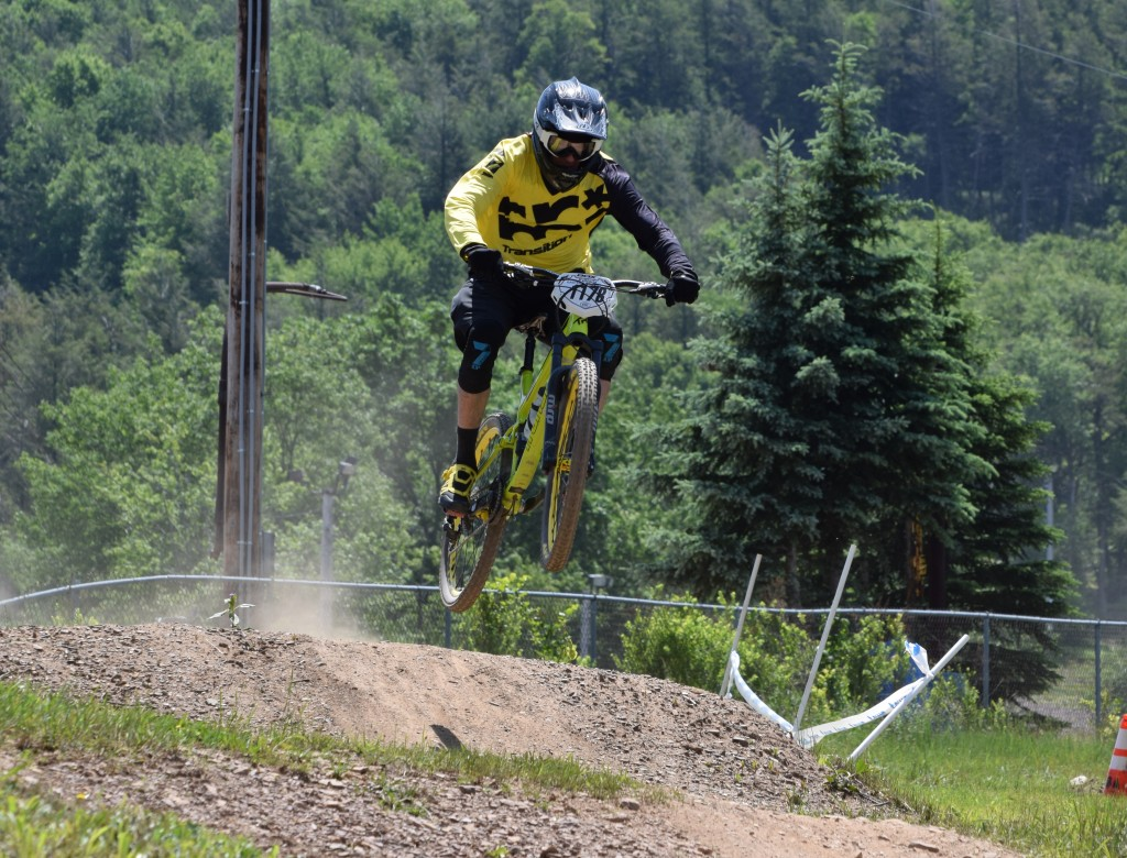 Coming to the finish of Stage 1 of the Eastern States Cup Enduro held at Blue Mountain Bike Park.