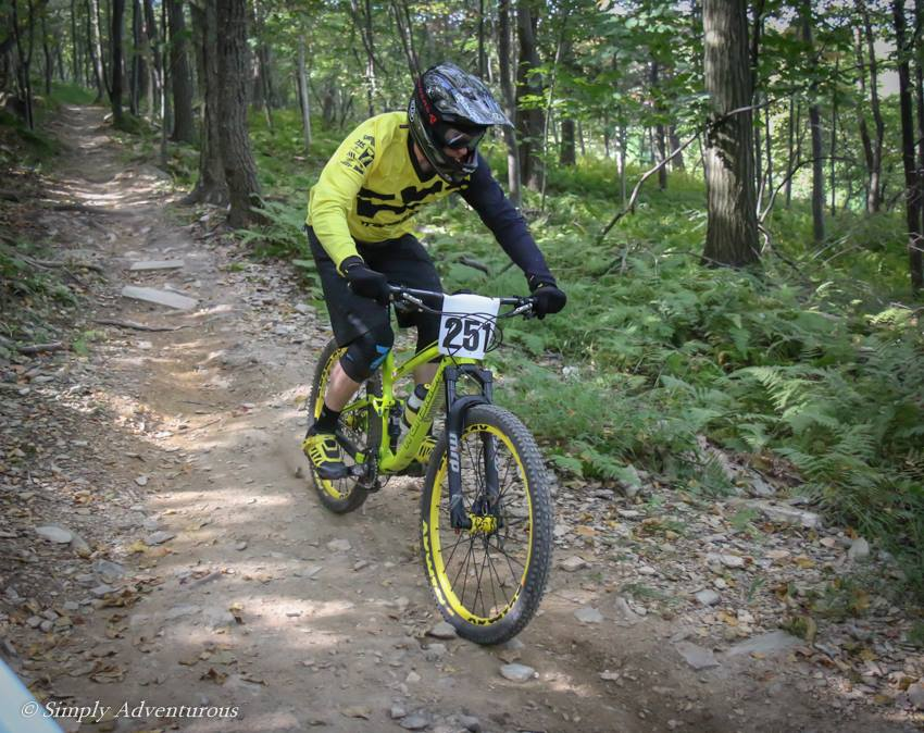 On course during practice of the Oktoberfest Super D at Blue Mountain Bike Park.